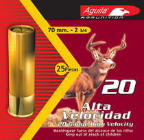 "Aguila Field High Velocity 20 Ga, 2.75"", 2-3/4oz, 2 Buck, 25rd/Box"