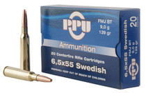 PPU Metric Rifle 6.5x55 Swedish 139gr Full Metal Jacket, 20rd/Box