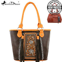 Montnana West Embroidered Concealed Handgun Collection Tote - Coffee