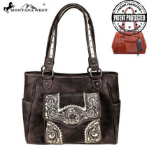 Montnana West Embroidered Collection Concealed Carry Tote - Coffee