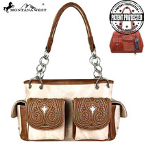Montnana West Embroidered Collection Concealed Carry Satchel - Tan