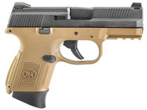 "FN FNS-9 Compact, Striker Fired, Compact 9mm, 3.6"" Barrel, Flat Dark Earth/Black, 1-12Rd & 1-17Rd Mag"