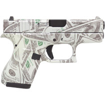 "Glock 42, .380 ACP, 3.25"", 6rd, Glow in the dark $100 Bill Camo"