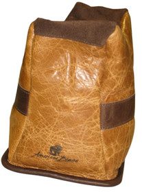 BenchMaster American Bison Shooting Bag, Brown Leather, Front Bag, Unfilled