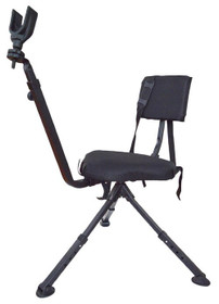 BenchMaster Hunting And Shooting Chair, Adjustable Leg, Swivel Seat, Black