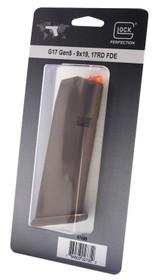 Glock G17/34 Magazine 9mm, 17rd, Cardboard Style Packaging, Flat Dark Earth, Orange Follower 47459