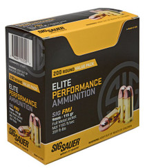 Sig Elite Ball 9mm 115gr, Full Metal Jacket, 200rd/Box