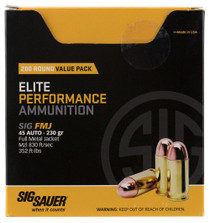 Sig Elite Ball 45 ACP 230gr, Full Metal Jacket, 200rd/Box