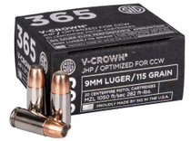 Sig Ammo V-Crown 9mm 115gr, JHP, 20rd/Box