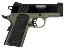 "Colt 1911 Defender 45 ACP 3"" Barrel, Black Cherry G10 Grip Green Aluminum Alloy Frame 7rd Mag"