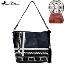 Montana West Concho Collection Concealed Carry Hobo - Black