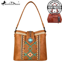 Montana West Aztec Collection Concealed Carry Hobo - Brown