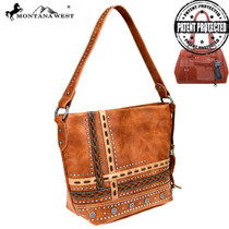 Montana West Concho Collection Concealed Carry Hobo - Brown