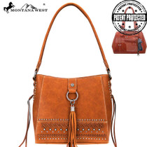 Montana West Fringe Collection Concealed Carry Hobo - Brown