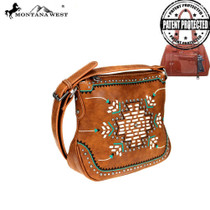 Montana West Aztec Collection Concealed Carry Crossbody Bag - Brown