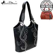 Montana West Cut-Out Collection Concealed Carry Tote Bag - Black