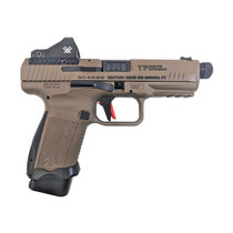"CANIK TP9SF Combat 9mm, 4.78"" Threaded Barrel, Speed Funnel Mag Well, FDE, Vortex Viper Red Dot,, Holster 15Rd Mag"