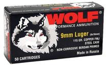 Wolf 9mm 115gr, FMJ CP, 50rd Box