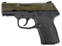 "Kel-Tech PF9, 9mm, 3.1"" Barrel, Green Cerakote Slide, Black Frame, 7rd"