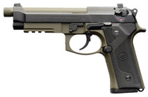 "Beretta M9A3 9mm, 5.1"" Barrel, Black Slide, Green Frame, 10rd"