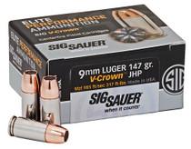 Sig Ammo Elite Performance V-Crown 9mm 147gr, JHP, 50rd/Box