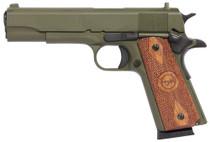 "Iver Johnson 1911 A1, 45 ACP, 5"", 8rd, Walnut Grips, OD Green"