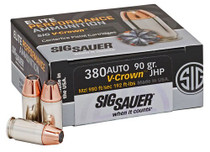 Sig V-Crown 380ACP 90gr, JHP, 20rd/Box