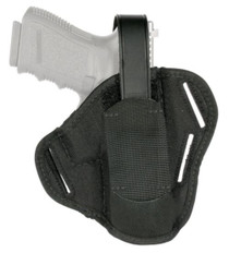 "Blackhawk 3-Slot Pancake Holster Ambidextrous Black For 4"" Barrel Medium/Intermediate Double Action Revolvers"