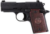"Sig P938 Micro Texas 9mm, 3"", Rosewood Grip, Alum Frame, Nitron Slide, Night Sights, 6rd"