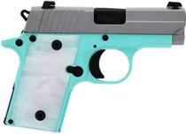 """SIG P238, .380 ACP, 2.7"""", 6rd, SIGLITE NS, Pearl-White Grips, Robin Egg Blue"""