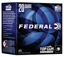 "Federal Top Gun Sporting 20 Ga, 2.75"", 7/8oz, 8 Shot, 25rd/Box"