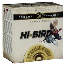 "Federal Hi-Bird Game Load 12 Ga, 2.75"", 1-1/8oz, 8 Shot, 1275 FPS, 25rd/Box"