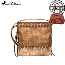 Montana West Tooled/Embossed Collection Concealed Carry Crossbody, Brown