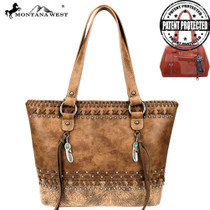 Montana West Tooled/Embossed Collection Concealed Carry Tote, Brown