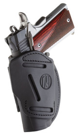 1791 4 Way Holster, Leather Belt Holster, Right Hand, Stealth Black, Fits Glock 48 and S&W EZ380, Size 1