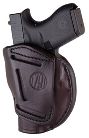 1791 4 Way Holster, Leather Belt Holster, Right Hand, Signature Brown, Fits Glock 48 & S&W EZ380, Size 1