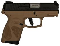 "Taurus G2S, 9mm, 3.26"", 7rd, Black Carbon Slide, Tan Frame"