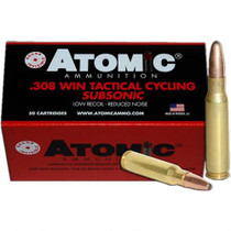 Atomic Tactical Cycling Subsonic, .308 Win, Soft Point Round Nose, 260gr, 50rd/Box