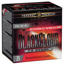 "Federal BlackCloud 20 Ga, 3"", 1oz, 2 Shot, 1350 FPS, 25rd/Box"