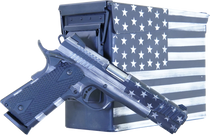 "Citadel M-1911 with Ammo Can 45 ACP, 5"" Barrel, Black G10 Grip American Flag, Battleworn Gray Cerakote Slide, 8rd"