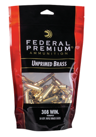 Federal Gold Medal Bagged Brass Unprimed 308 Win, 50/Bag