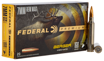 Federal Premium 7mm Remington Mag 168gr, Berger Hybrid Hunter, 20rd/Box