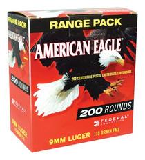 Federal American Eagle 9mm 115gr, Full Metal Jacket, 200rd/Box