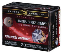 Federal Hydra-Shok Deep 9mm 135gr, Hollow Point, 20rd/Box