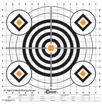 "Battenfeld Technologies Caldwell High-Contrast Sight-In Paper Targets Bullseye/Diamonds Black/Orange 16x16"" 10 Per Package"