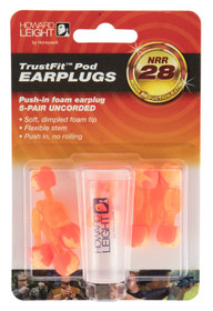 Howard Leight TrustFit Pod Earplugs, Uncorded, 28 dB, 5pk, Orange/Yellow