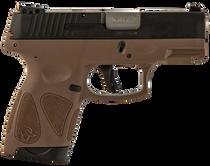 "Taurus G2S. .40 S&W, 3.26"" Barrel, 7rd, Black Slide, Brown"