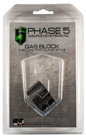 """Phase 5 Weapon Systems Lo Pro Gas Block Lo Pro Gas Block Clamp Style 0.750"""" Barrel Black"""