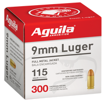 Aguila 9mm 115gr, FMJ, 300rd/Box