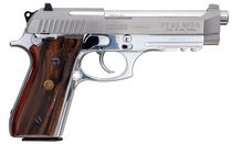 "Taurus PT92 9mm, 5"" Barrel, Stainless, Brazilian Walnut Grips, Adj Rear Sight, 2x17rd"